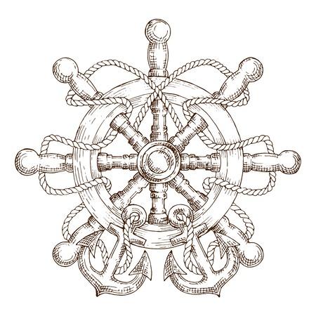 Schets van houten nautische roer verstrengeld met een touw met ankers. Gebruik als marine embleem, reizen of marine ontwerp Stockfoto - 50900017