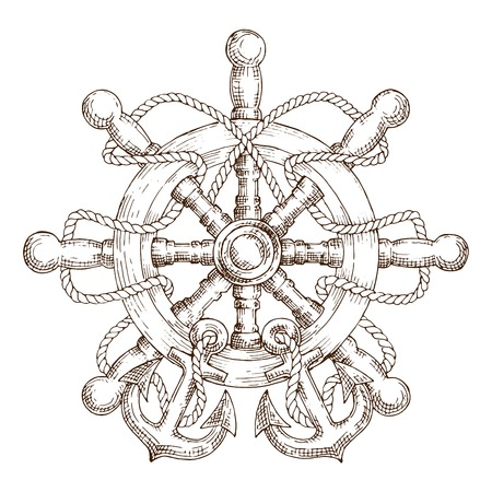 schooner: Sketch of wooden nautical helm entwined by rope with anchors. Use as navy emblem,travel or marine design