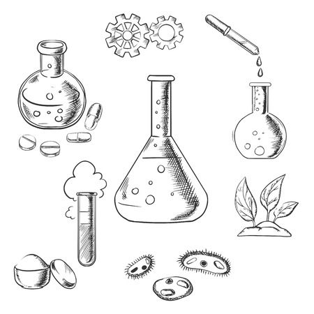 Experiment and scientific design with a cloud of vapor with gear wheels above a conical flask with additional glassware for pharmaceutical, chemical, botanical and medical research. Sketch style vector