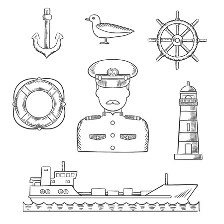 anchor man: Sailor and captain profession design with moustached captain in white uniform, helm, ship, anchor, lifebuoy, lighthouse and seagull icons. Sketch style vector