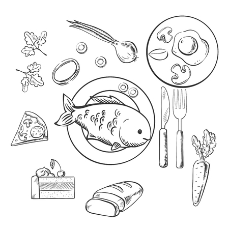 fresh food fish cake: Fresh dinner food with sketch vector icons as a cake, vegetables, fried eggs, pizza and sliced bread surrounding a central plate of fish. Sketch style