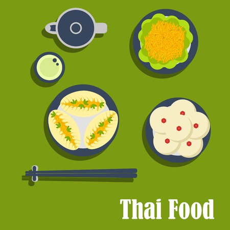menu icon: Thai cuisine flat icons of tasty asian lunch with spicy carrot salad and garlic sauce, pies with vegetables, puddings with coconut toppings, teapot with cup of green tea and chopsticks on rest Illustration