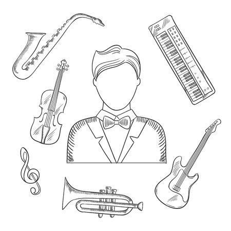synthesizer: Musical hand drawn icons of musician man in tailcoat, surrounded by electric guitar, trumpet, violin, saxophone, treble clef and synthesizer musical instruments. Sketch style vector