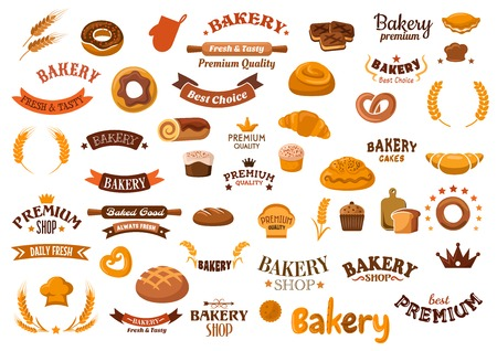 Bakery shop retro emblems cartoon design elements with cupcakes, rye and wheat bread, buns, rolls, doughnuts, croissants, pies, pretzels, cookies and decorative cereal ears, donuts, ribbon banners, baker hats, crowns, stars and headers
