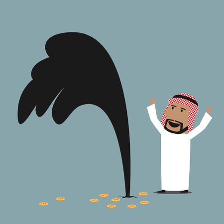 漫画富裕層と幸運なアラビアの実業家おオイル潮吹きの近くに立って、油井が正常に検出を祝います。成功、富や石油業界のテーマのデザイン
