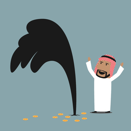 Cartoon wealthy and lucky arabian businessman standing near an oil gusher and celebrating successful discovery of oil well. Success, wealth or oil industry theme design Vettoriali