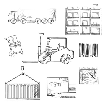 skid steer: Delivery and shipping icons with truck, crate, barcode, container, shelving, loader and wooden box. Sketch style Illustration
