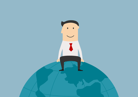 top of the world: Global market, international business and successful people theme. Cartoon successful joyful businessman sitting on the top of the world