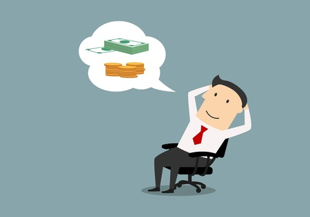 dream: Pensive smiling cartoon businessman sitting on office chair and dreaming about money, success and wealth. Vector. Business concept design of big dream or success