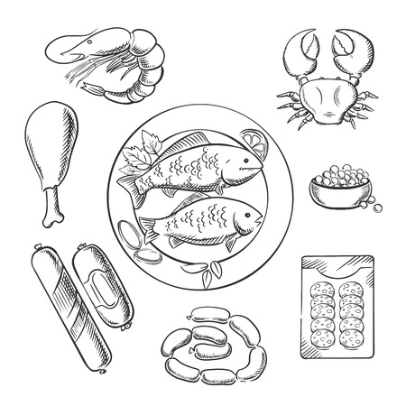 caviar: Seafood and meat sketched icons with fish, crab, prawn, caviar, sausage, wurst and chicken. For cafe or restaurant menu design. Sketch vector