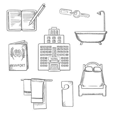 bed room: Hotel service concept sketch design with apartment icons as bed, room key, not disturb sign, towels, bathroom, hotel building, passport and notebook,