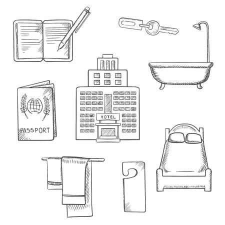 albergo: Servizio Hotel design concept sketch con icone come sono stati letti, chiave della camera, non disturbare segno, asciugamani, bagno, edificio, passaporto e notebook, Vettoriali