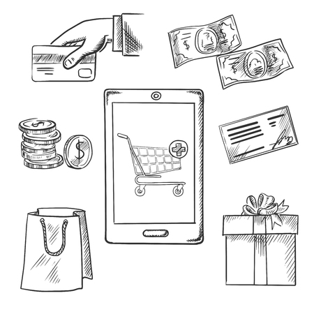 order delivery: E-commerce vector sketch concept of various payment options with a central smartphone displaying a shopping cart surrounded by icons for a bag, bank check, credit card, banknotes, coins and gift Illustration