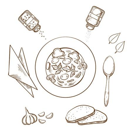 servilleta: Bosquejo de la cena con un plato de sopa caliente rodeado de pan blanco, hierbas, condimentos condimentos, servilleta y cuchara. vector del estilo del bosquejo