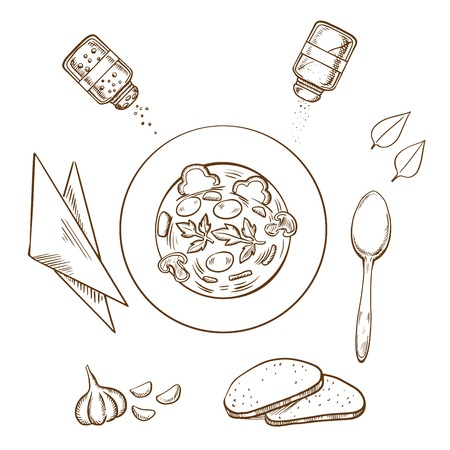 white napkin: Sketch of dinner with a bowl of hot soup surrounded by white bread, herbs, seasoning condiments, napkin and spoon. Sketch style vector