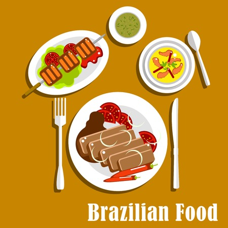 chilli pepper: Traditional dinner of brazilian cuisine with feijoada stew with pork and beans, served with fresh tomatoes and chilli pepper, grilled picanha on lettuce, creamy pumpkin soup with shrimps and mate tea. Flat style vector
