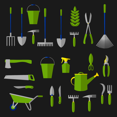 Agricultural and gardening tools icon with rakes, shovels, green plant, watering can, pitchfork, scissor, wheelbarrow, shears, trowel, buckets, knife, secateurs, saw, weeding hoes, sprayer, axe, sickle. Flat style