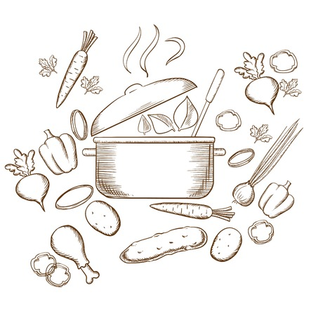 preparing food: Preparing vegetable soup sketch design with carrot, plate, hot pan, beet, pepper, cucumber, onion, chicken leg, potato, steam and green leaf for vegan food design. Sketch style vector