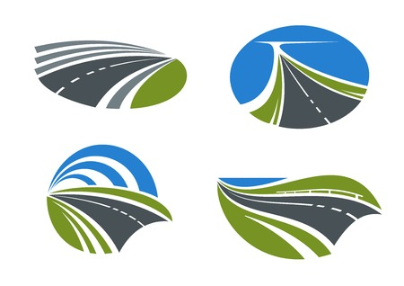 green fields: Modern paved roads and speed highways passing among scenic nature landscapes with green fields, lake and bright blue sky above. Isolated transportation symbols for travel design