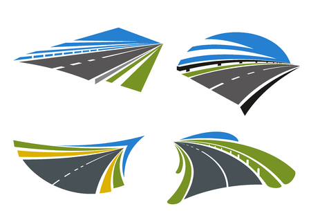 Highways and roads icons with landscape. Isolated on white vector icons. For travel, transportation and journey themes design Illusztráció