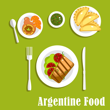 argentine: Traditional argentine cuisine flat icons with asado, served with grilled beef steak and tomatoes on lettuce, empanadas, dulce de leche milk candy with fresh oranges and cup of mate tea