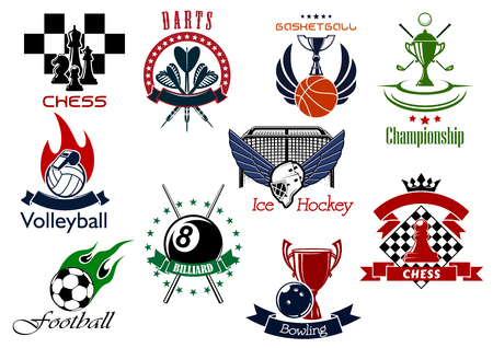 Set of sporting emblems or icons representing different sports and championships. Chess, darts, golf, basketball, volleyball, ice hockey, bowling, pool, soccer and football icons included Vector Illustration