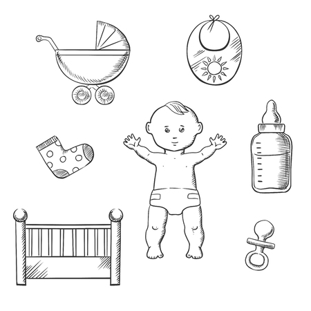 nappy: Baby sketch design with a cute little baby in a nappy encircled by a cot, crib, pushchair, booties, bib, bottle, and dummy. Vector illustration