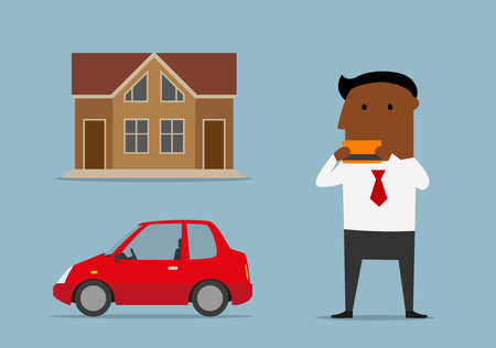 bought: Successful african american cartoon businessman or manager bought new car and house by credit card. Real estate credit and new car loan, banking  service design usage