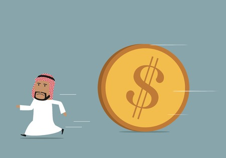 financial crisis: Financial crisis, debt or bankruptcy concept. Cartoon arabian businessman running away from huge rolling dollar coin Illustration