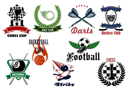 Football or soccer, golf, ice hockey, basketball, bowling, chess, billiards and darts sport emblems with heraldic elements and sporting items Illustration