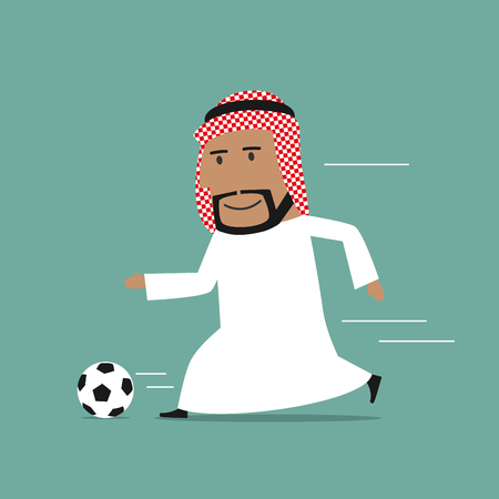 leisure activity: Cartoon arabian businessman in white clothes and keffiyeh playing football. Leisure activity and healthy life style business concept design Illustration