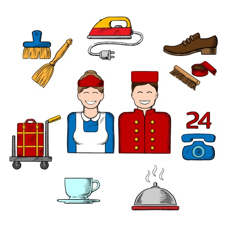hotel rooms: Hotel services colorful sketched icons with bell boy, maid and composition of room services icons with luggage, iron, shoe cleaning, telephone, food delivery, coffee and cleaning