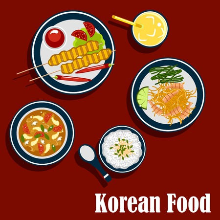 korea food: Korean cuisine food icons with rice, seafood soup with shrimp and vegetables, marinated shrimp on spicy carrot salad with lemon and seaweed, bulgogi skewers served with chilli peppers, tomatoes, sauce and fresh juice. Flat vector style