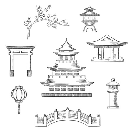 torii: Japan travel icons in sketch style with traditional japanese pagoda surrounded by blossoming branch of sakura, torii gate, paper lantern, temple and bridge