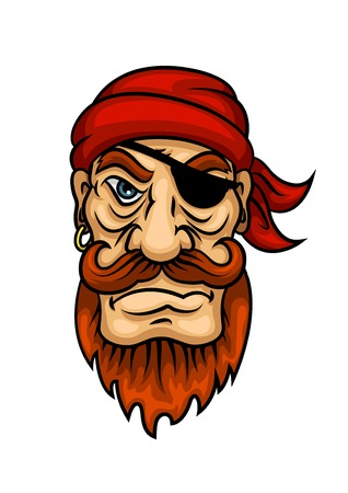 man head: Cartoon portrait of redhead pirate sailor character with curled mustache and beard, eye patch and bandanna. Marine piracy and adventure theme usage