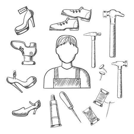 cobbler: Shoemaker profession sketched icons depicting shoemaker with awl, heels, hammer, glue, nails and shoes Illustration