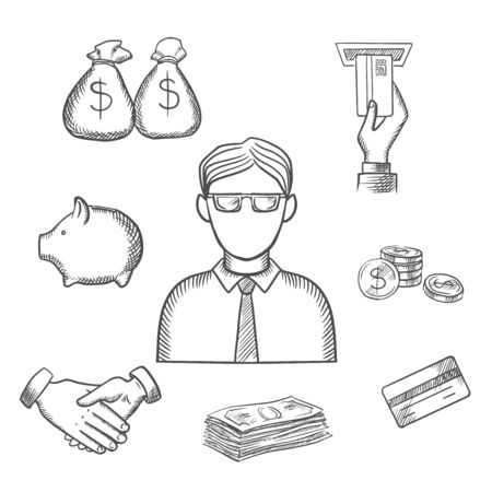 profession: Banker profession sketch design with businessman and financial icons with money bags, ATM, credit card, handshake, piggy bank, dollar coins and bills. Sketch style icons Illustration