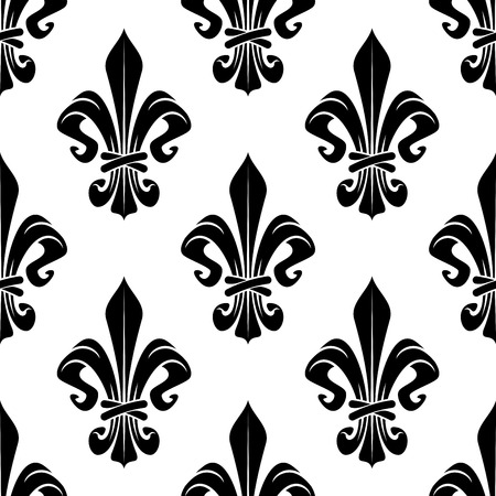 white flowers: Black and white royal floral fleur-de-lis seamless pattern. Black lily flowers on white background