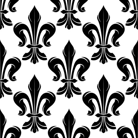 monarchy: Seamless black and white fleur-de-lis pattern with elegant curled leaves arranged into royal french lily flowers. Great for medieval monarchy background or luxury interior accessories Illustration