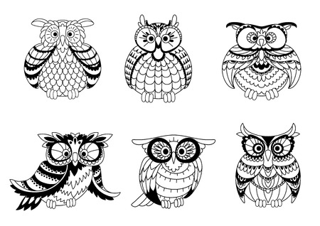 Black and white outline silhouettes of cute little owls with different shapes, plumage and eyes. Vector illustration