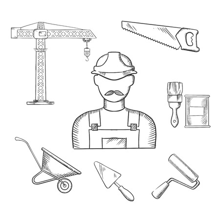 paint can: Builder profession and construction industry sketched icons with man in hard helmet and overalls with tower crane, hand saw, trowel, paintbrush, paint can, wheelbarrow and paint roller. Illustration