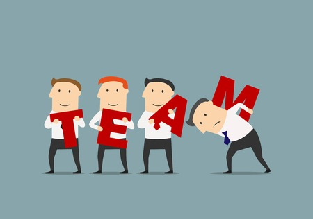 cohesive: Teamwork, business team, partnership, cooperation business concept. Successful cartoon businessmen with red letters are composing a word - Team