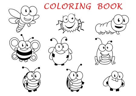 mosca caricatura: Personajes de dibujos animados divertido del esquema del insecto con mosca, mariquita, mariposa, lib�lula, abeja, oruga, escarabajo, ara�a y saltamontes Vectores