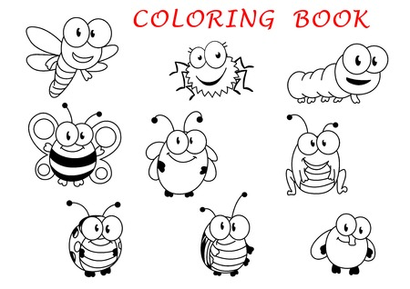 Cartoon funny outline insect characters with fly, ladybug, butterfly, dragonfly, bee, caterpillar, beetle, spider and grasshopper