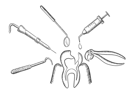 surgery doctor: Teeth and dentistry concept in sketch style with a tooth being targeted by dental tools, drill, mirror, an injection and pliers