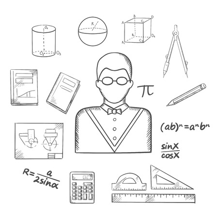 mathematician: Mathematician profession sketched icons with teacher in glasses, formulas, calculator, rulers, compasses, pencil, textbooks, drawing and geometric figures. Sketch style vector illustration