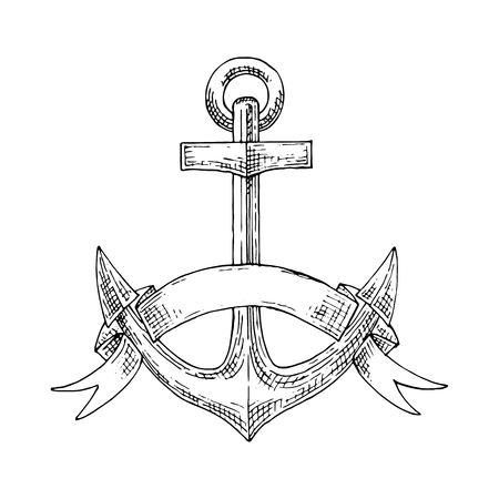 Nautical emblem with sketch of admiralty anchor, adorned by elegant ribbon that wrapped around flukes.  Addition to marine, travel, adventure or heraldry design. Sketch vector