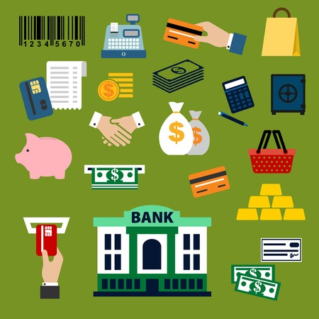 bank transfer: Business, finance, banking and shopping flat icons with dollar bills and coins, credit card, money bags and handshake, calculator, shopping basket, paper bag, piggy bank, safe, bank building, gold bars, bar code, cash register and atm slot Illustration