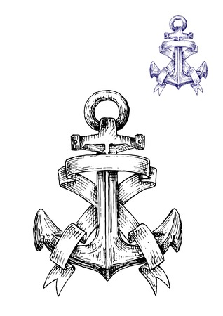 anchored: Vintage heraldic sketched anchor with curly ribbons or banners. Sketch style vector Illustration