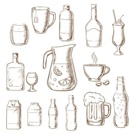 Diverse dranken en drinken iconen waaronder vruchtensap, bier, frisdrank, bier, alcohol, champagne, milkshake, drank, melk, koffie, likeur. Schets stijliconen Stock Illustratie